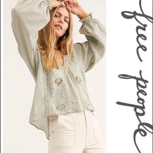 NWT FREE PEOPLE SIVAN EMBROIDERED MOSS TOP SIZE SM